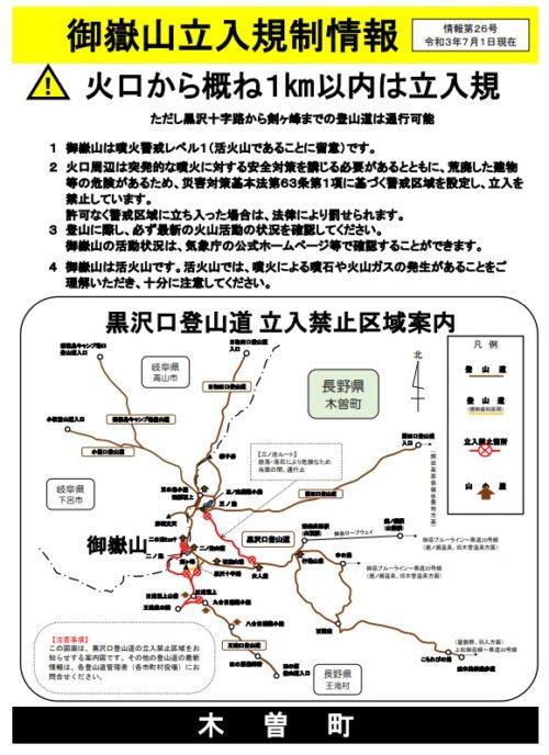 御嶽山立ち入り規制情報(2021年7月1日)