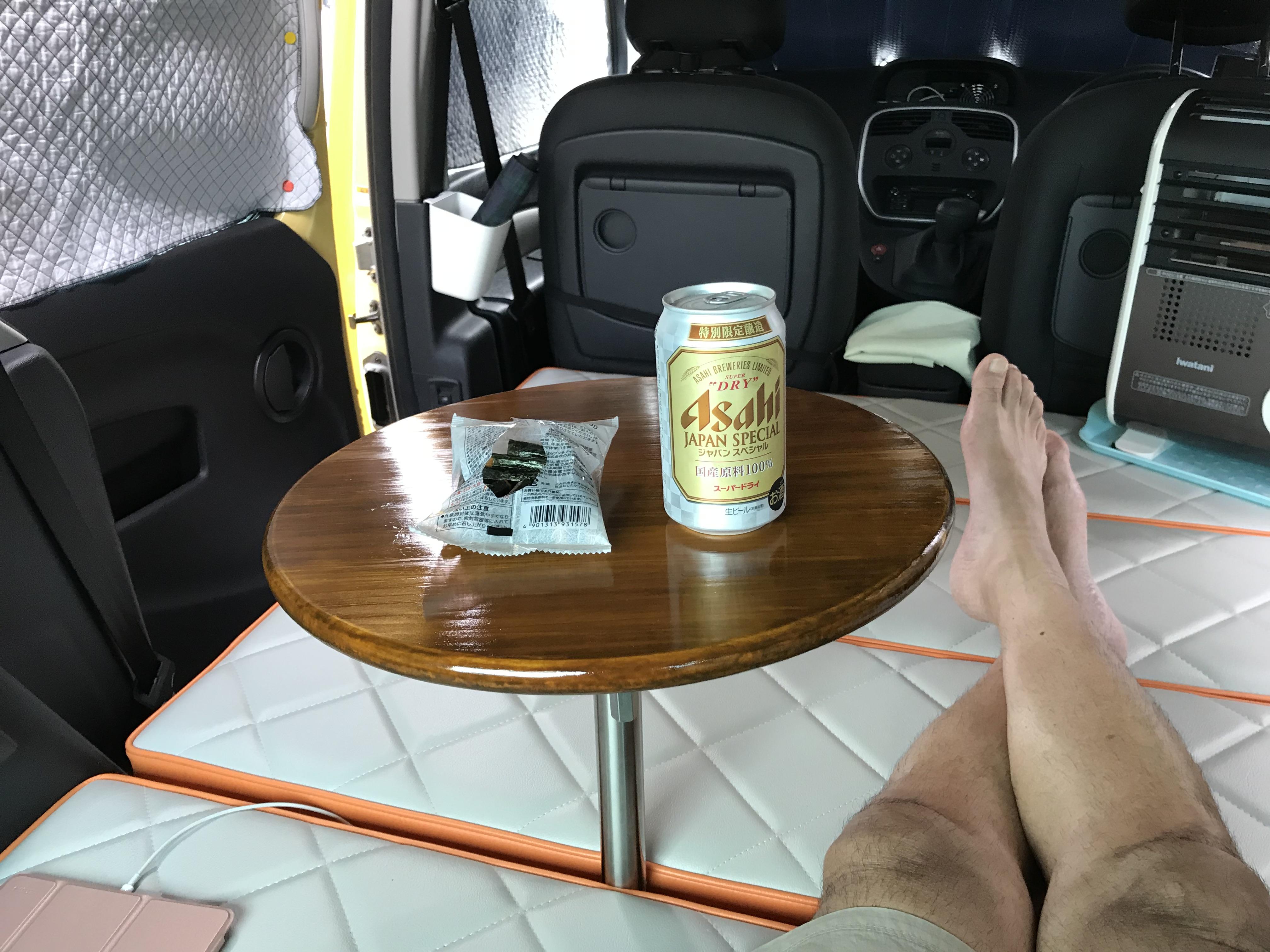 御嶽ロープウエイ駐車場で缶ビールタイム