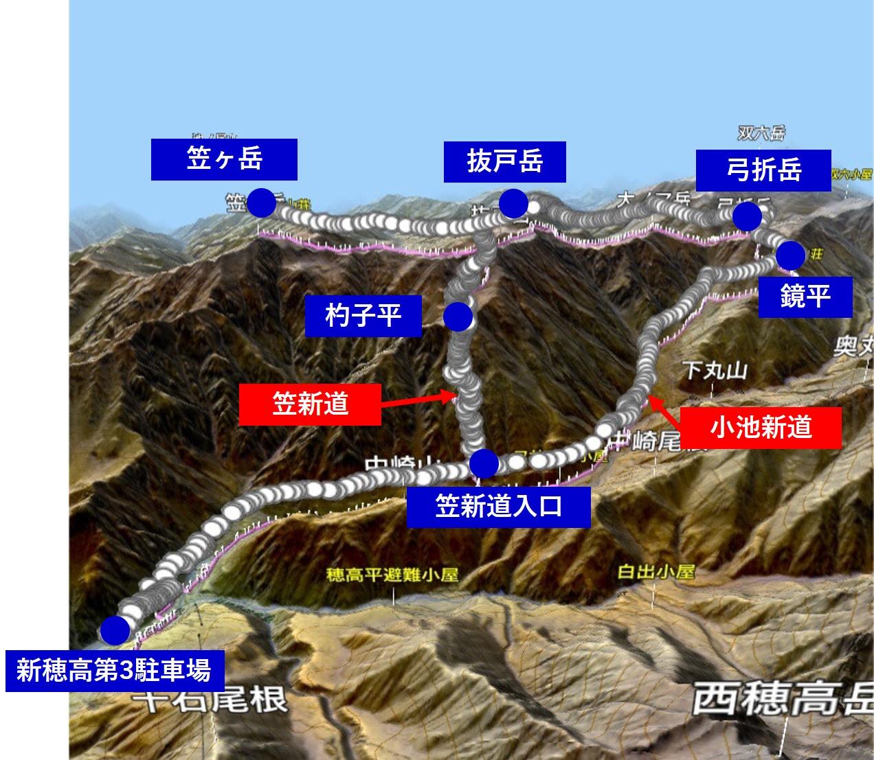 笠ヶ岳ルートマップ