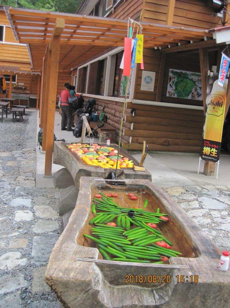ワサビ平小屋の野菜と果物