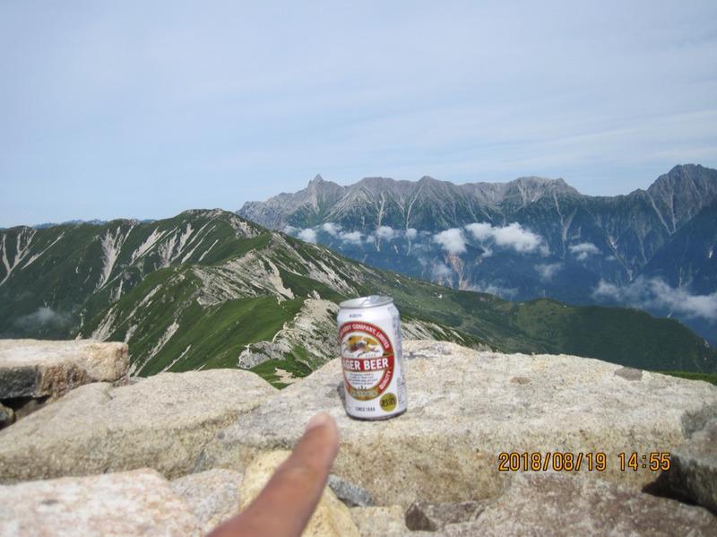ビールと槍ヶ岳