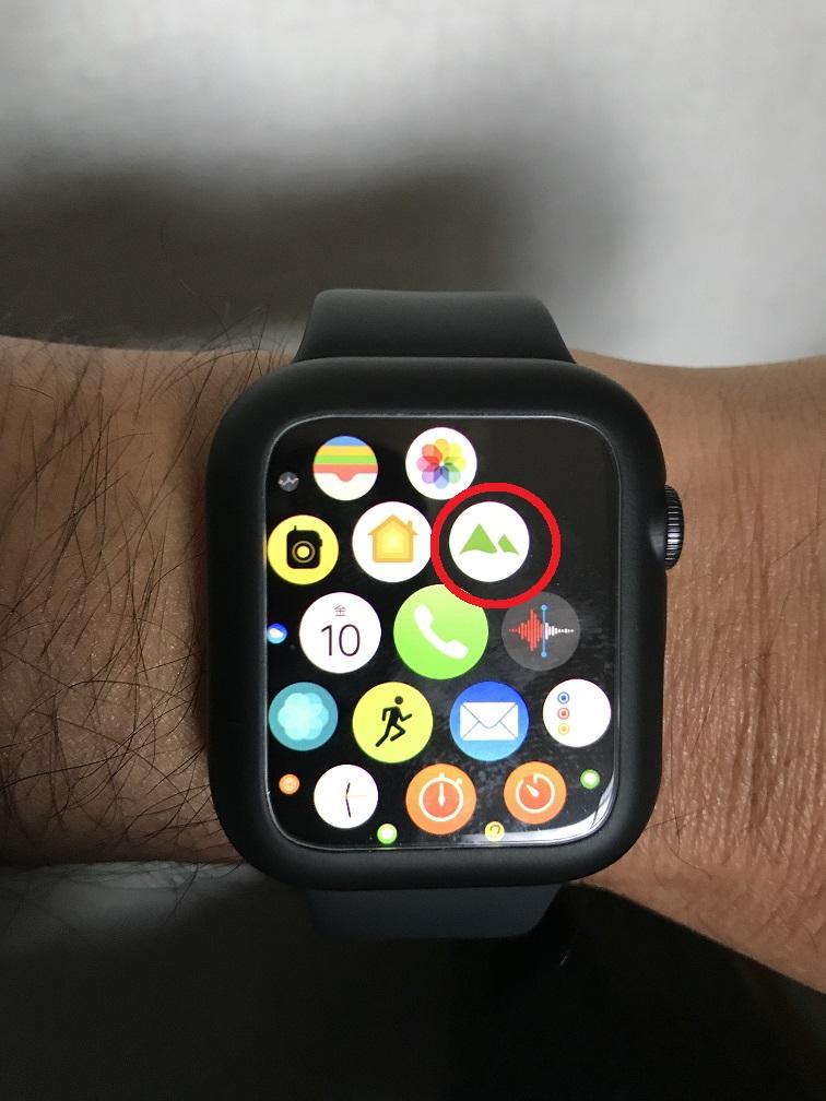 アップルウォッチでヤマレコアプリをクリック