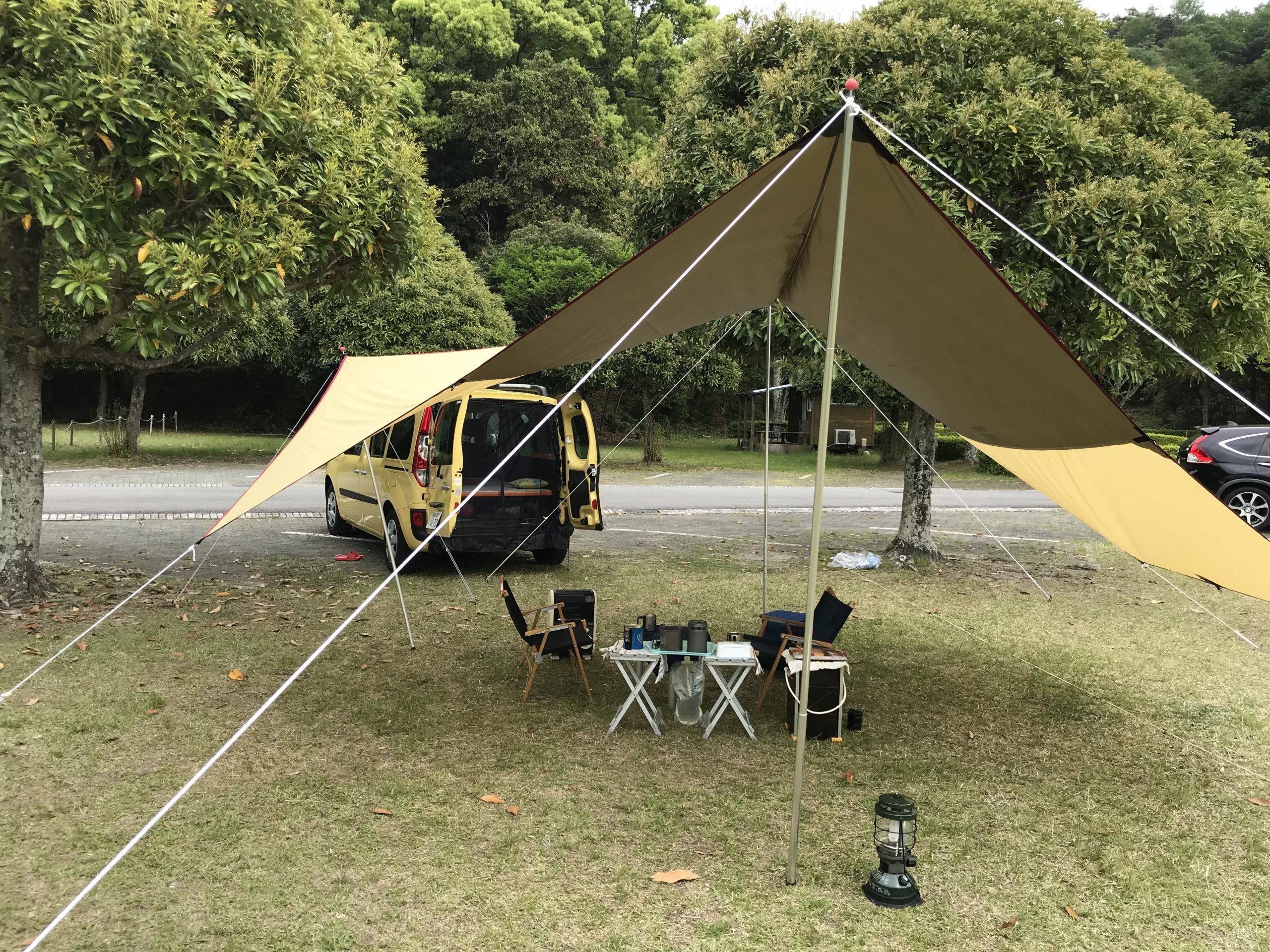 バックドアに網戸|キャンプ場で実践1