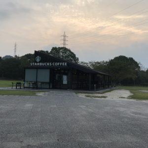 宮島サービスエリア(下り)で車中泊|お洒落なスターバックスのテラスでの朝食