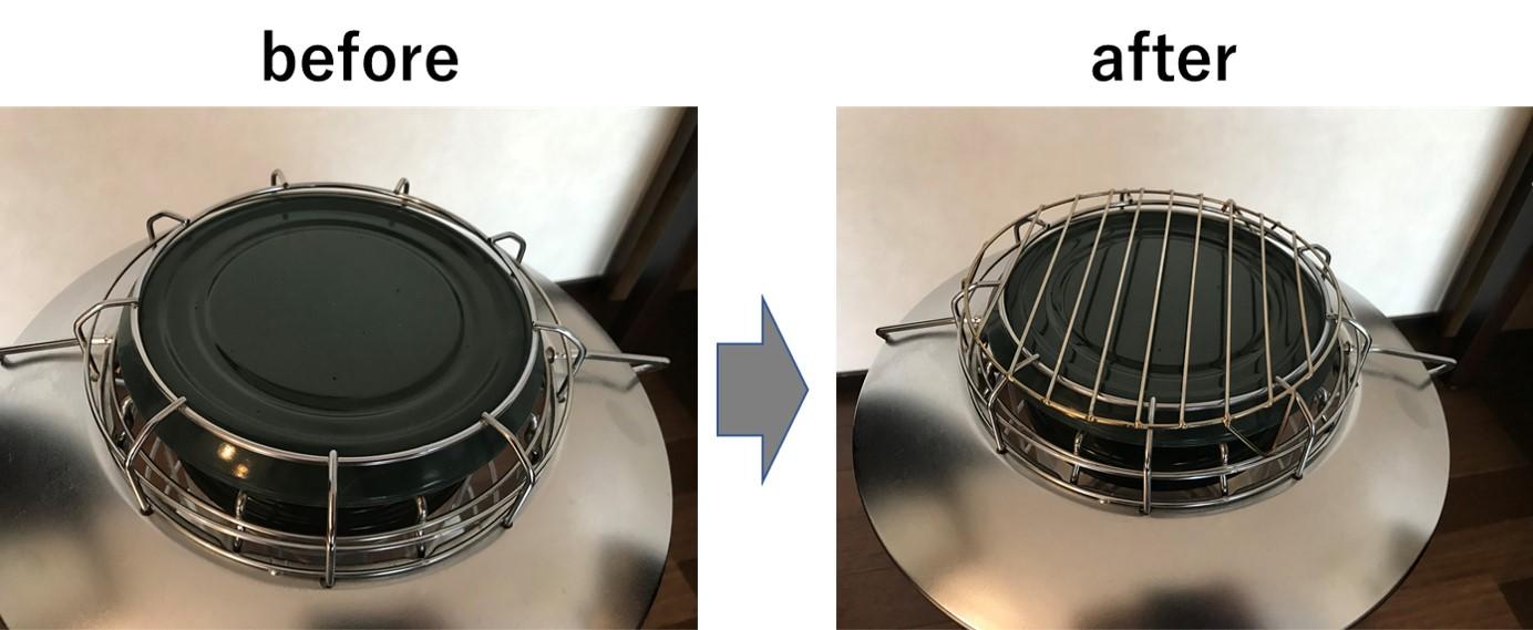 トヨトミ レインボーに百均の鍋敷きを載せる
