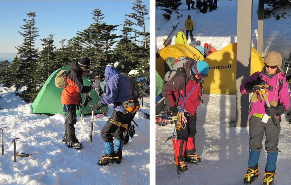 御嶽山雪中訓練の様子