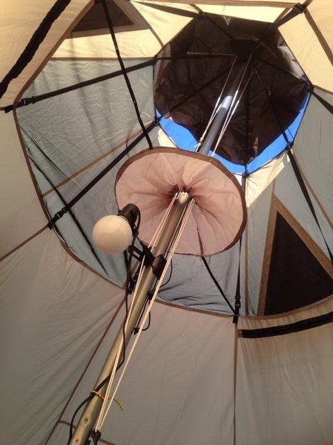 ワンポールテントに電灯を設置