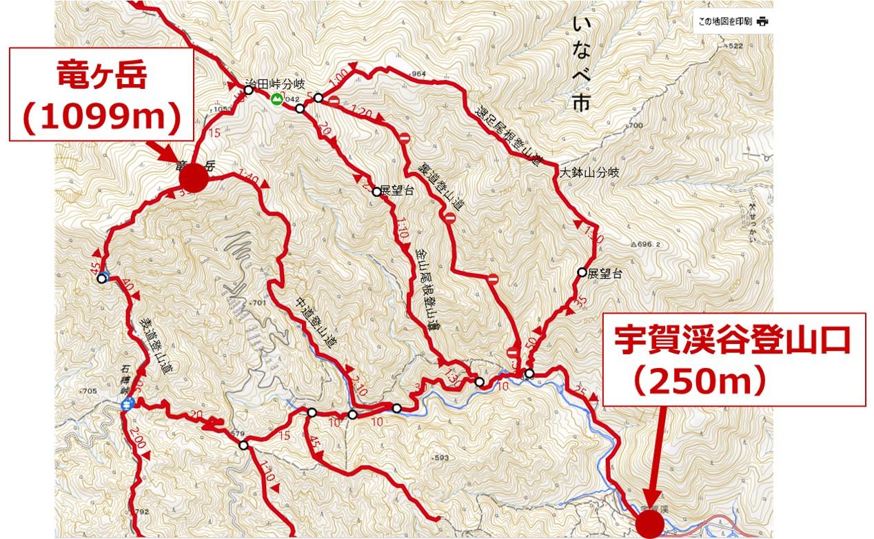 竜ヶ岳の登山コース