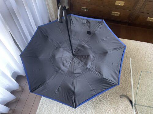 開いた逆さ傘を裏から見たところ