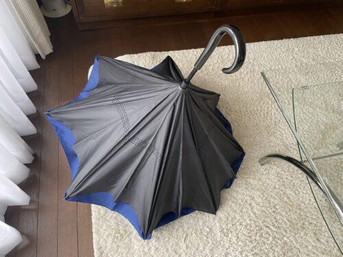 逆さ傘を半分開いたところ