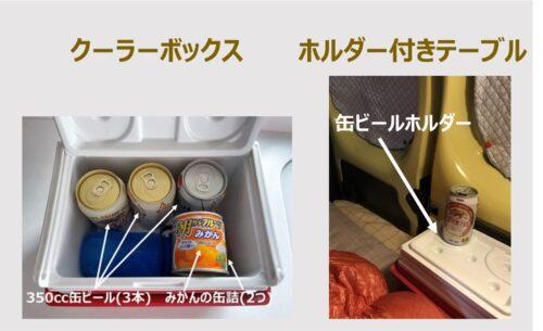 クーラーボックスと缶ビールホルダー付きテーブルを兼用
