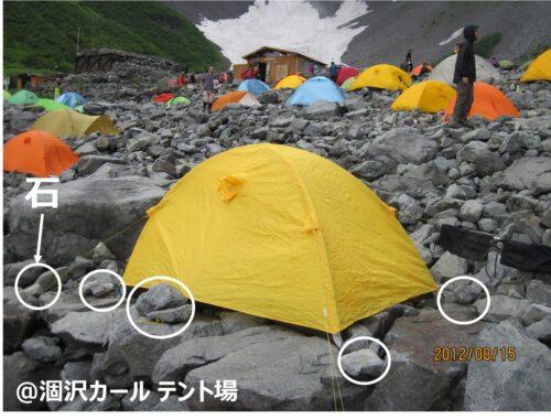 涸沢カールテント場で石を使う2