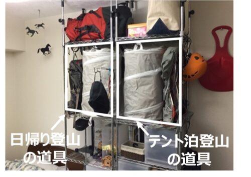 登山道具の収納法(登山形態別に収納)